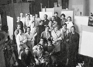 Sterrer-Klasse an der Akademie der bildenden Künste Wien, 1934 (Max Weiler, letzte Reihe, dritter von links)