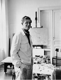 Max Weiler in seinem Atelier in Wien, 1987