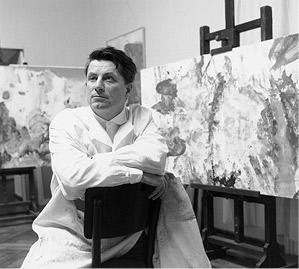 Max Weiler in seinem Atelier in der Akademie der bildenden Künste Wien, 1965