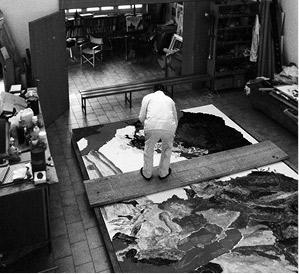 Max Weiler an der Arbeit am Bild «Introduktion» im Atelier  in Innsbruck, 1993